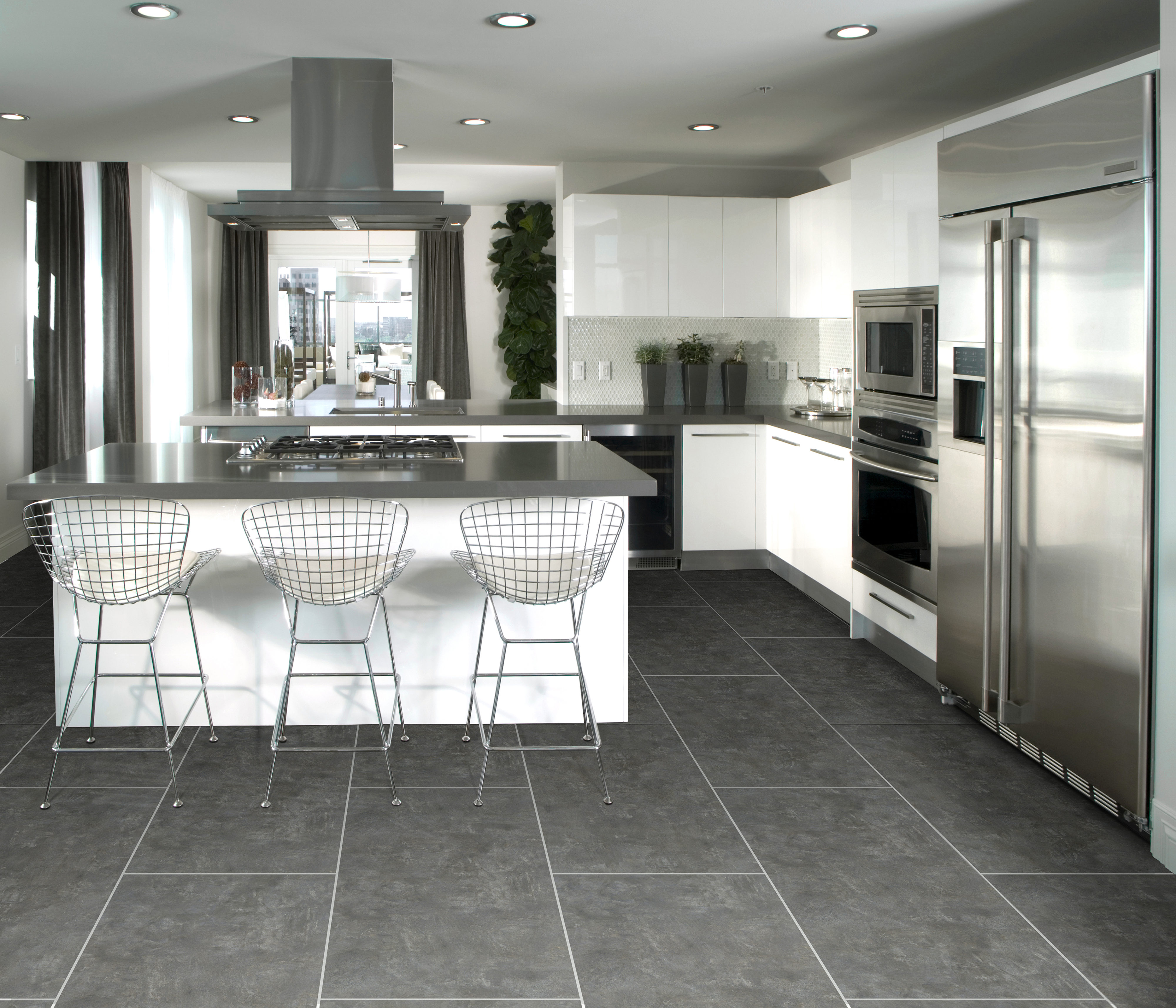 Tile floor is easy to clean and looks great. Call us today to get a customer flooring installation consultation and quote.