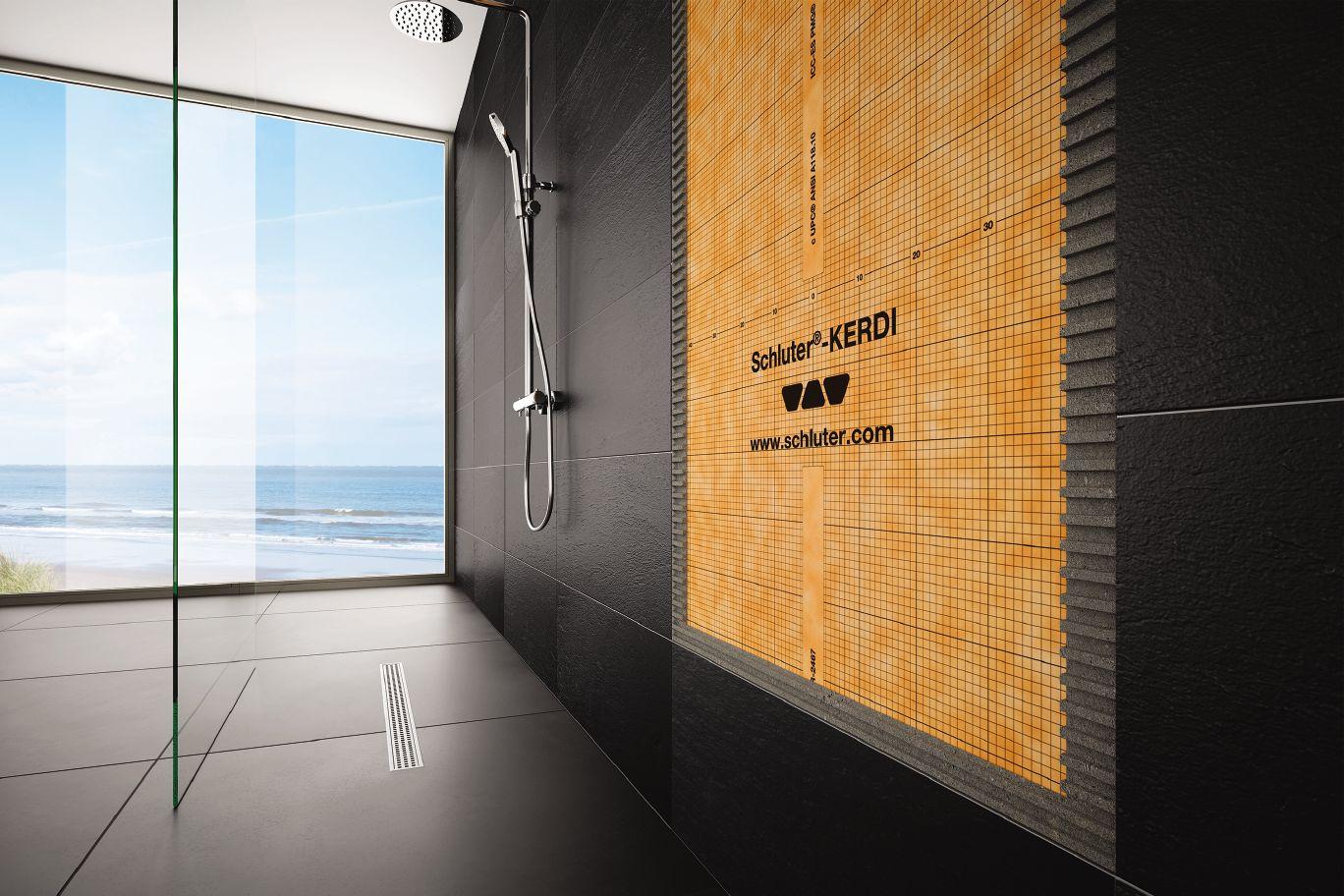 Beautiful borderless custom shower installation picture.
