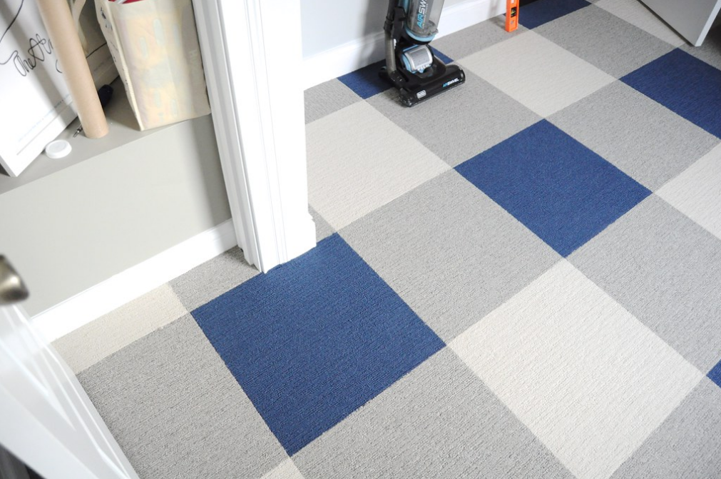 blue plaid carpet tiles image of bedroom